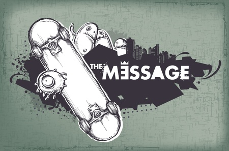 Modern sketchy style banner with skateboard. Layered. Vector EPS 10 illustration. Vector