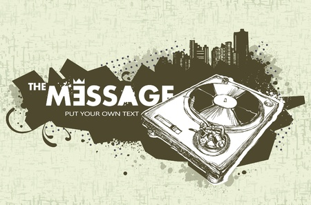 Modern sketchy style banner with turntable. Layered. Vector EPS 10 illustration. Vector