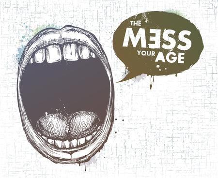 dientes sucios: Moderna labios estilo incompleto, con nubes de chat de texto. Capas. EPS 10 ilustraci�n.
