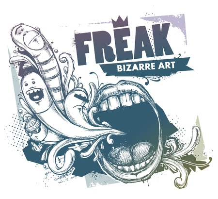 freaky: Modern sketchy style image of mouth and freaks. Vector EPS 10 illustration.