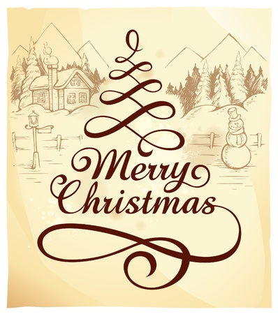 Calligraphic Christmas lettering with hand drawn winter landscape. Stock Vector - 11262745
