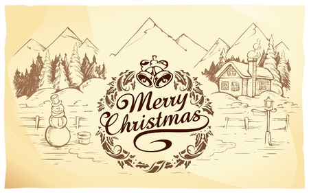 Calligraphic Christmas lettering with hand drawn winter landscape. Vector