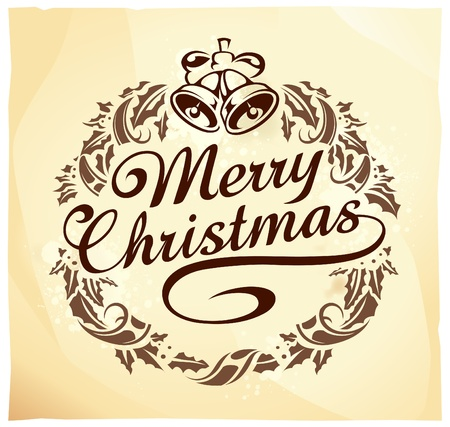 Calligraphic Christmas lettering with wreath. Retro style. Stock Vector - 11262739