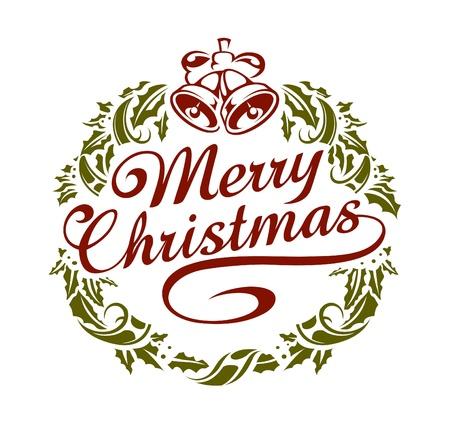merry christmas text: Caligraf�a letras de la Navidad con la corona. De estilo retro.