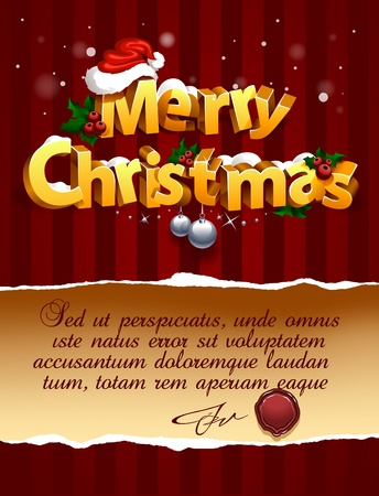 Three-dimensional Christmas Lettering On Traditional Background. Vector