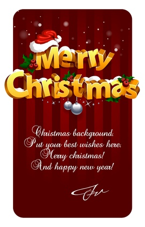 Three-dimensional Christmas Lettering On Traditional Background. Stock Vector - 11262752