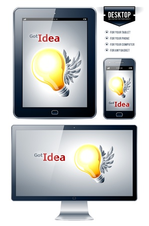 desktop wallpaper: Vector background. Lamp with wings. Great desktop for your gadgets.