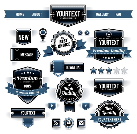 Vector set of retro labels, buttons and icons. Stock Vector - 11662116