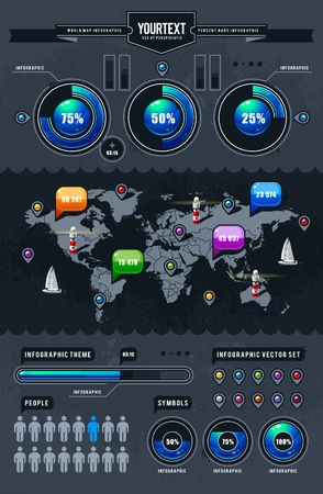 Vector set of infographics elements. Illustration