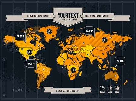 demographics: Vector world map with grunge and infographic elements.