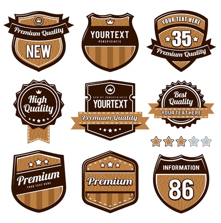 leather label:  set of retro badges.