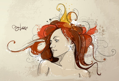 young lady: Hand drawn young lady. Vector illustration.