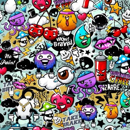 loco: Graffiti textura sin fisuras con elementos extraños y personajes Vectores