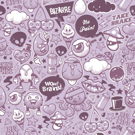 bizarre: Graffiti seamless texture with bizarre elements and characters.  Illustration