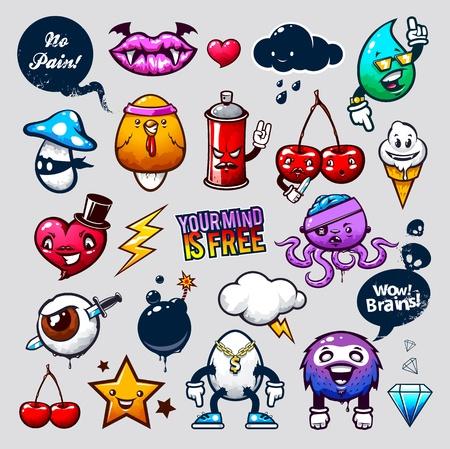 Vector set of graffiti bizarre characters. Stock Vector - 13196987