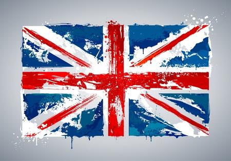 Grunge bandera nacional del Reino Unido. Ilustración del vector.