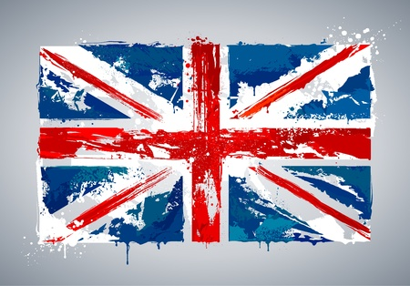 british flag: Grunge UK national flag. Vector illustration.