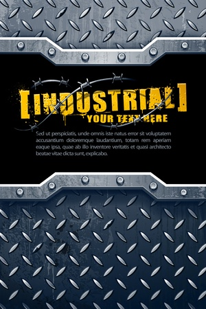 barb wire: Industrial background with grunge elements and place for your text