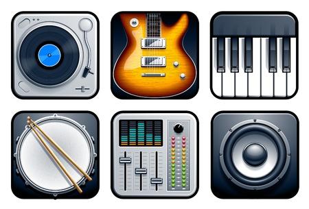 audio mixer: Musical icons vector set
