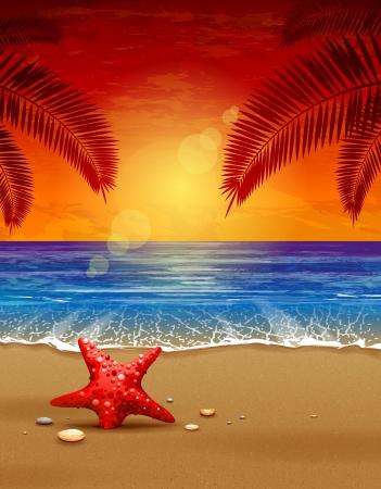 熱帯: 海夕日ベクトル イラスト パラダイス ビーチ