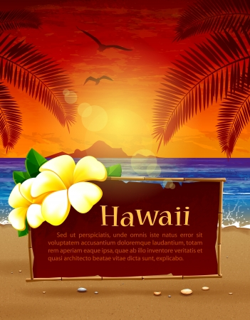 Seascape background  Paradise beach  Vector