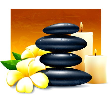 meditation stones: Spa vector illustration with zen stones and flowers