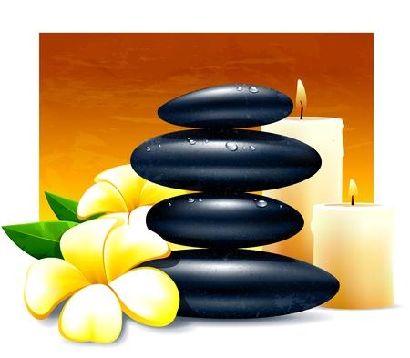 zen vector: Spa vector illustration with zen stones and flowers