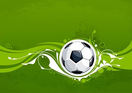 bannière football: Fond football grunge avec motif floral