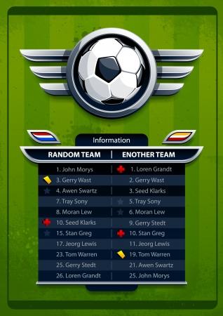banni�re football: Fond football grunge avec des cartes d'information de l'�quipe Illustration