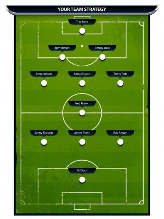 campeonato de futbol: Grunge futbol campo de juego con elementos de estrategia