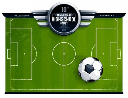 soccer ball on grass: Grunge soccer field with ball and cirle metallic banner for your announcement