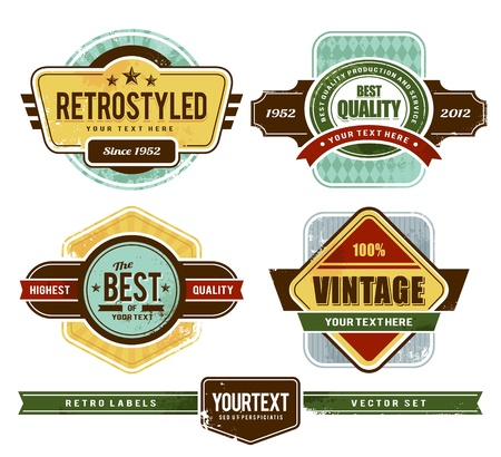 set of grunge retro badges   Vector