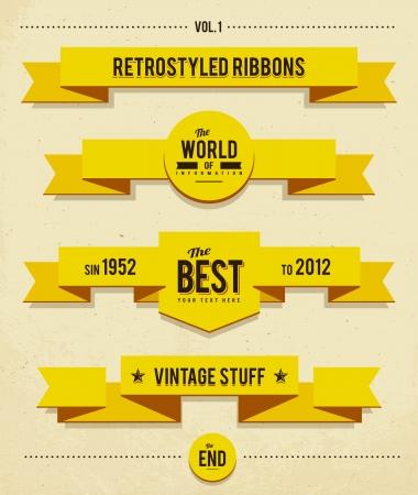 yellow  art: Retro cintas syled Vectores