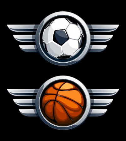 basketball team: Basketball and soccer balls in metal circles with wings.