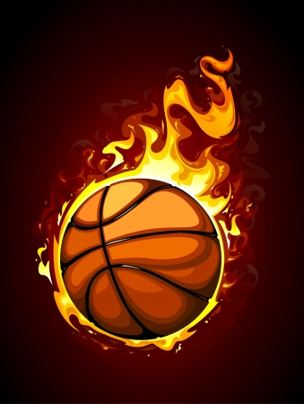 basketball ball on fire: Burning basketball