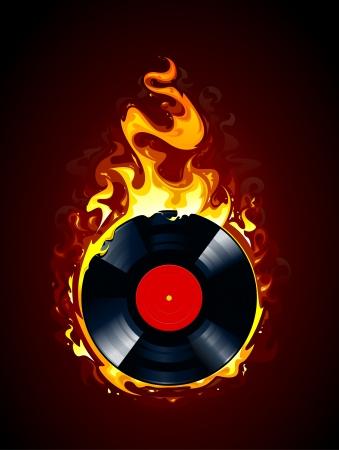 music dj: Burning vinyl record