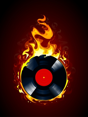 Burning vinylplaat Stock Illustratie