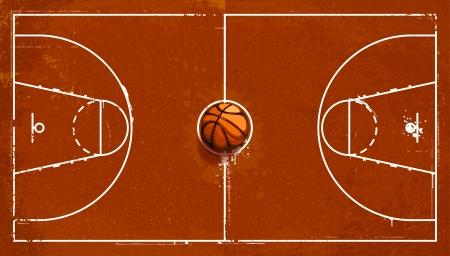 cancha de basquetbol: Grunge juegos de baloncesto Vectores