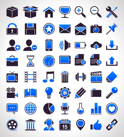 Vector set of 56 simple universal icons. Stock Vector - 18242312