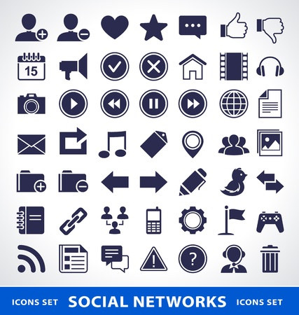 Vector set of simple social network icons. Illustration