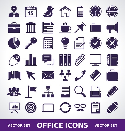 Vector set of simple office life icons. 向量圖像