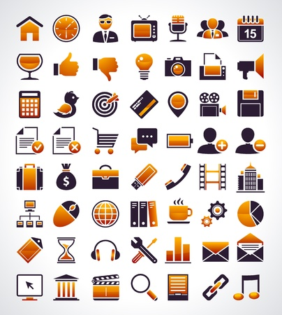 Vector set of 56 simple universal web icons. Vector