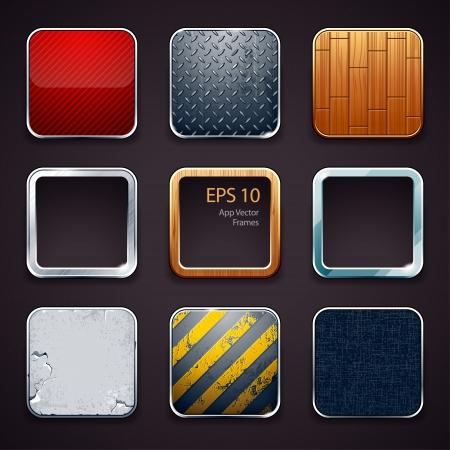 on metal: Altas iconos aplicaciones detalladas establecido. Vector ilustraci�n.