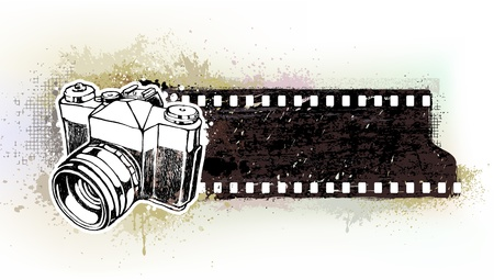 Hand-drawn banner with retro camera  EPS 8 vector illustration  Layered