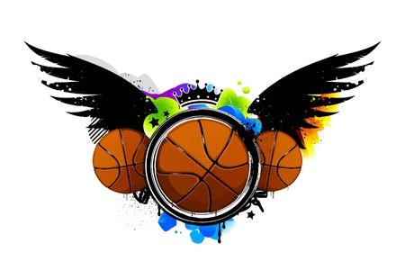nba: Graffiti image with basketballs. Vector illustration.