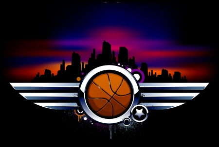 Sport background. Basketball with metal wings. Grunge style with graffiti elements. Vector illustration. Stock Vector - 18289348