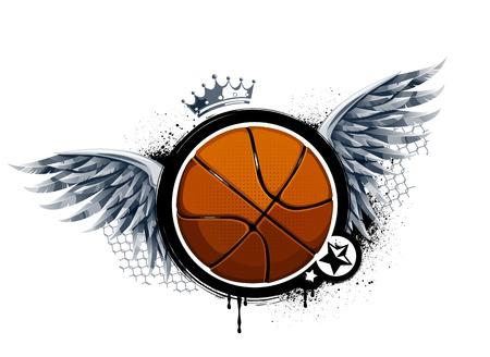 basketball ball: Grunge image with basketball. Vector illustration.