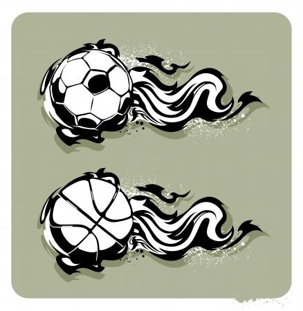 Grunge image with fireballs. Monochrome technique. Vector illustration. Stock Vector - 18289339