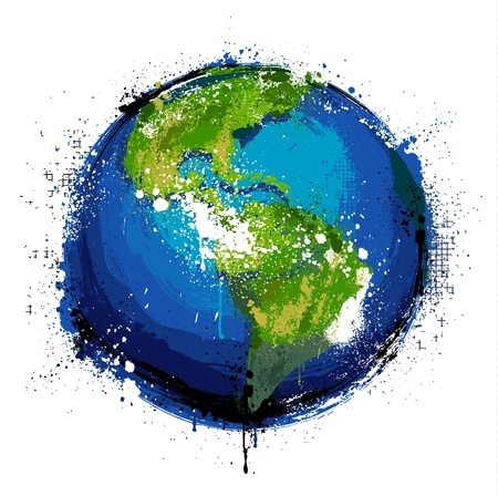 Grungy globe. EPS 8 vector illustration. Illustration