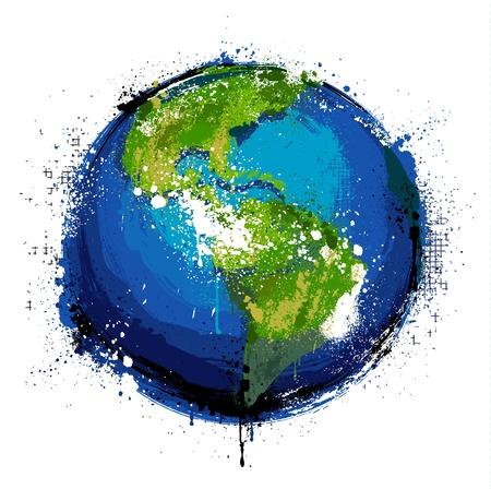 Grungy wereld. EPS 8 vector illustratie.